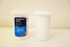 Test strip containers without label